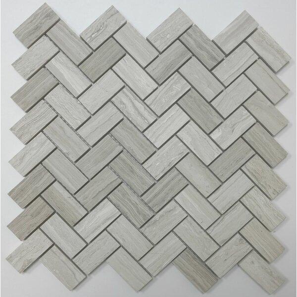 Herringbone Honed 1 x 2 Mosaic Tile in Wooden White by Ephesus Stones