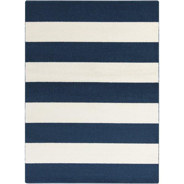 Greer Cobalt & Ivory Striped Area Rug by Latitude Run