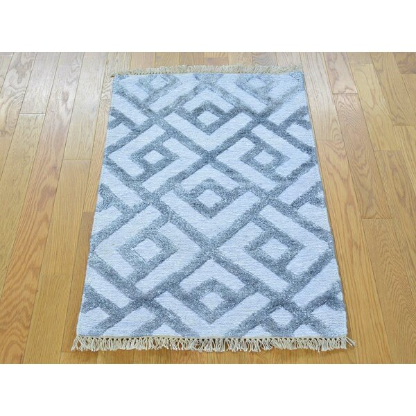 One-of-a-Kind Bonaparte Art Soumak Geometric Design Handwoven Grey Silk Area Rug by Isabelline