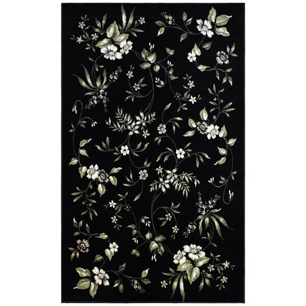 Anson Bloom Black Area Rug by Charlton Home