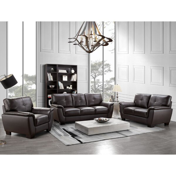Curran 3 Piece Leather Living Room Set by Darby Home Co