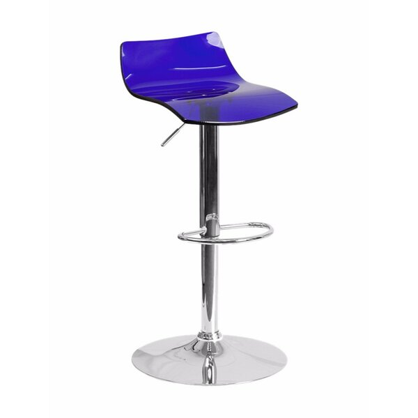 Aruna Contemporary Transparent Adjustable Height Bar Stool by Orren Ellis