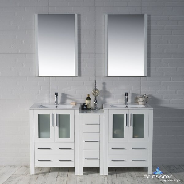 Mance 59 Double Bathroom Vanity Set with Rectangular Mirror by Orren Ellis