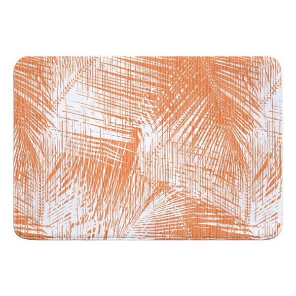 Shaylee Palm Breeze Rectangle Memory Foam Floral Bath Rug