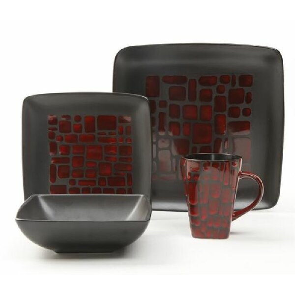 Gibson Bella Carmine 16 Piece Dinnerware Set, Service for 4 by ABC Home Collection