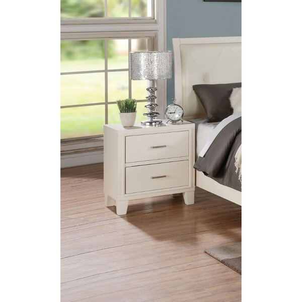 Heavener Contemporary Style Wood and Metal 2 Drawer Nightstand by Ivy Bronx Ivy Bronx