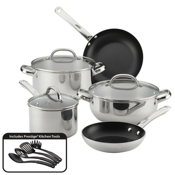 Buena Cocina 12 Piece Non-Stick Stainless Steel Cookware Set by Farberware