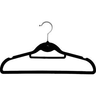Deals Slimline Velvet Non-Slip Hanger with Notches and Tie Bar (Set of 25) By Rebrilliant
