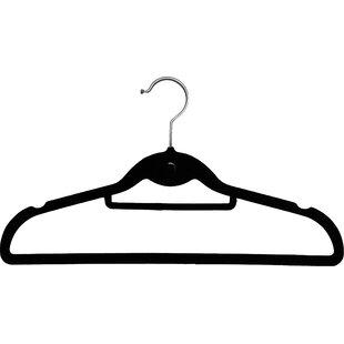 Affordable Slimline Velvet Non-Slip Hanger with Notches and Tie Bar (Set of 25) By Rebrilliant