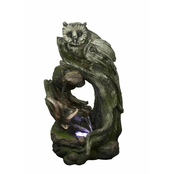 Polystone/Fiberglass Owl Rainforest Tree Trunk Fountain with LED Light by Alpine
