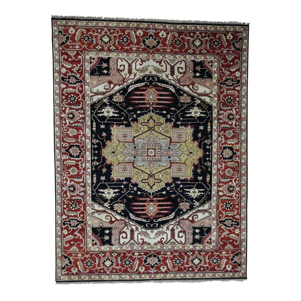 One-of-a-Kind Newcastle Tribal Serapi Oriental Hand-Knotted Black Area Rug by Astoria Grand