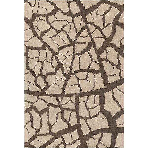 Cavour Hand Tufted Wool Beige/Dark Brown Area Rug by 17 Stories