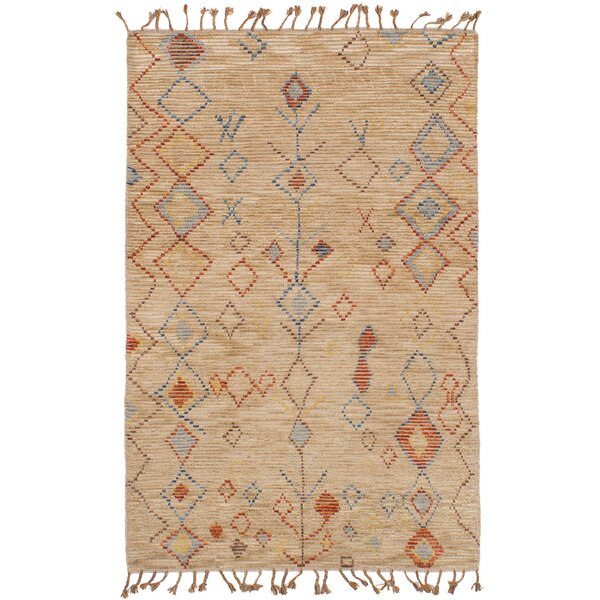 Canales Hand-Knotted Wool Tan Area Rug by Foundry Select