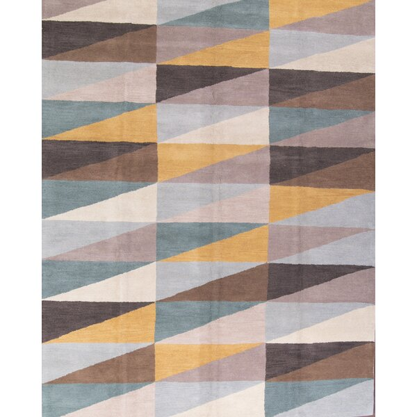 Jaydon Gabbeh Hand-Tufted Wool Brown/Green Area Rug by Corrigan Studio