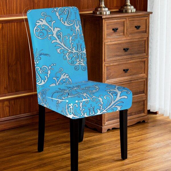 Flower Print Stretch Box Cushion Dining Chair Slipcover (Set Of 4) By Fleur De Lis Living