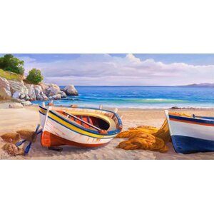 'Beach Side Dock' Painting Print on Canvas by Breakwater Bay