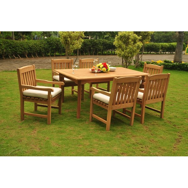 Normandie Luxurious 7 Piece Teak Dining Set by Rosecliff Heights