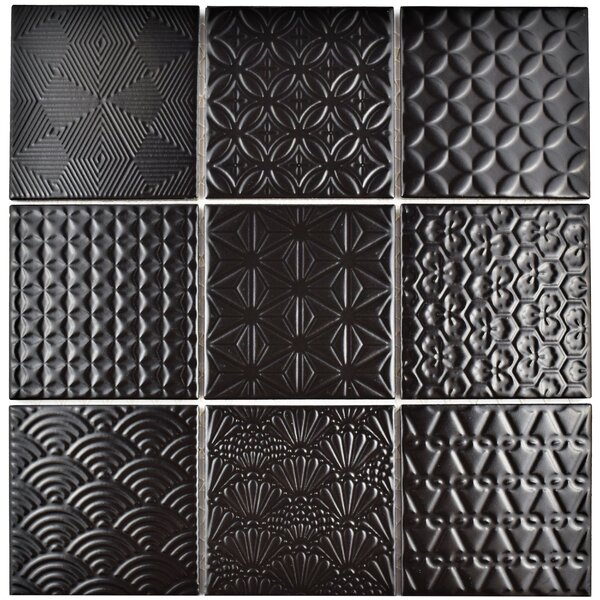 Vigor 3.88 x 3.88 Porcelain Mosaic Tile in Black by EliteTile
