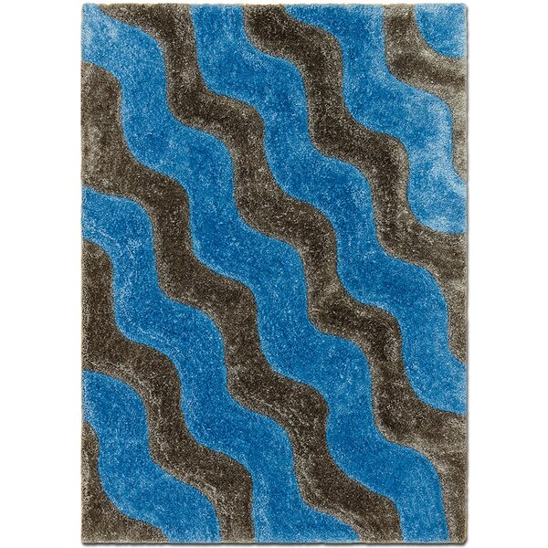 Hand-Tufted Blue/Brown Area Rug by AllStar Rugs