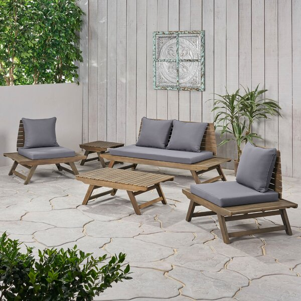 Aticus 5 Piece Sofa Seating Group with Cushions by George Oliver