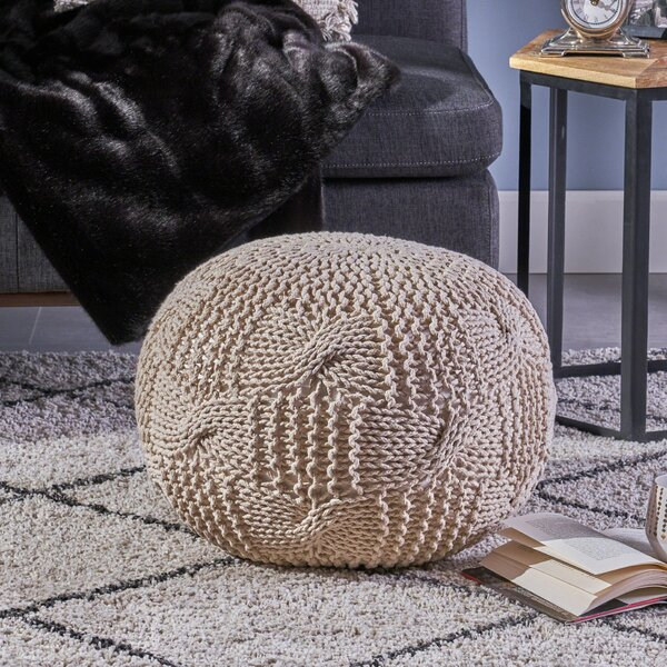 Mabie Knitted Pouf by Bungalow Rose