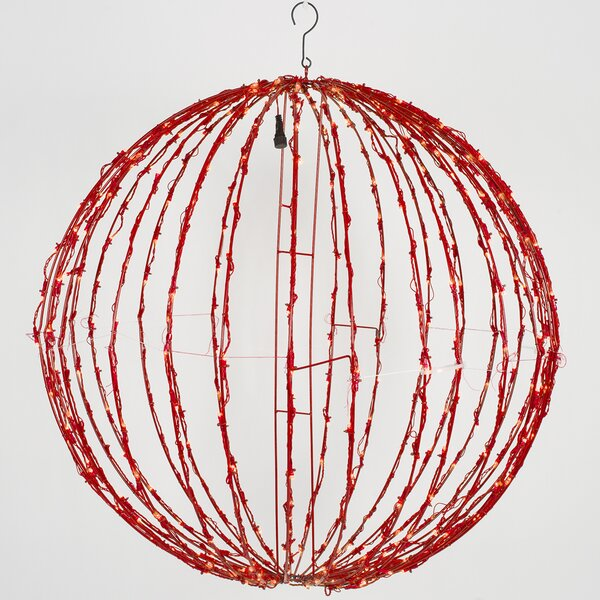 Fold-Flat LED Metal Christmas Ball Net Lighting by The Holiday Aisle