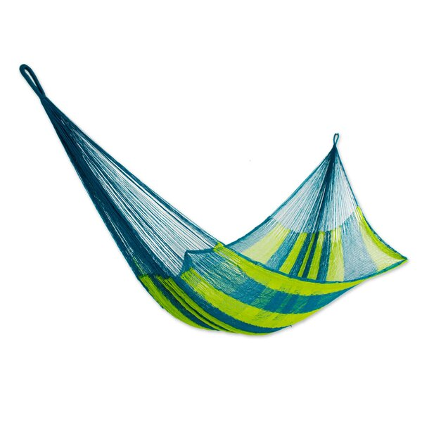 Fluorescent Tropics Rope Single Nylon Tree Hammock by Novica