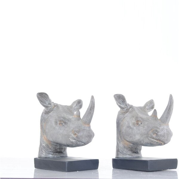 Rhino Head Bookends (Set of 2) by Bloomsbury Market