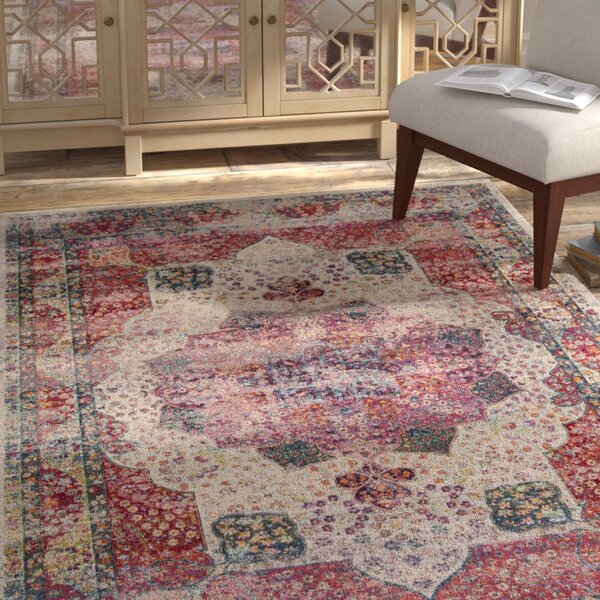 Doucet Cream/Red Area Rug by Bungalow Rose