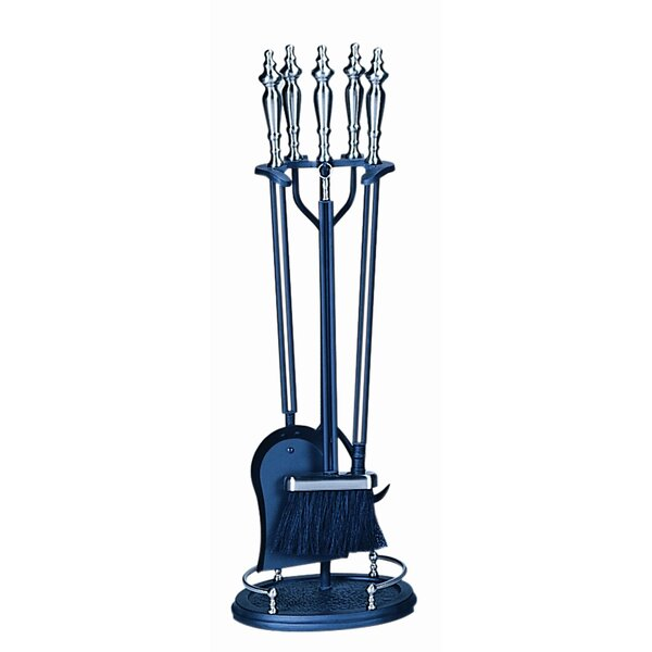 4 Piece Brushed Nickel Fire Tool Set With Stand by Uniflame Corporation