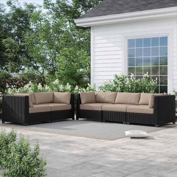 Fairfield Wicker Patio Sofa with Cushions by Sol 72 Outdoor Sol 72 Outdoor