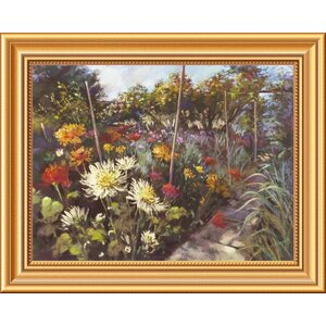 'Dusk in the Walled Garden' by Nel Whatmore Framed Painting Print on Canvas by Global Gallery