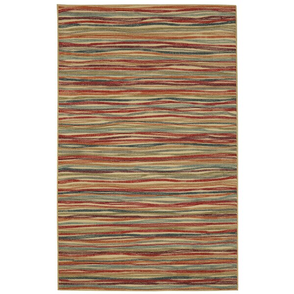 Caroga Melody Stripe Brown/Red Area Rug by George Oliver