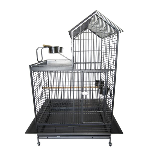 1 Bar Spacing Villa Play Top Wrought Iron Parrot Cage with Removable Tray by YML