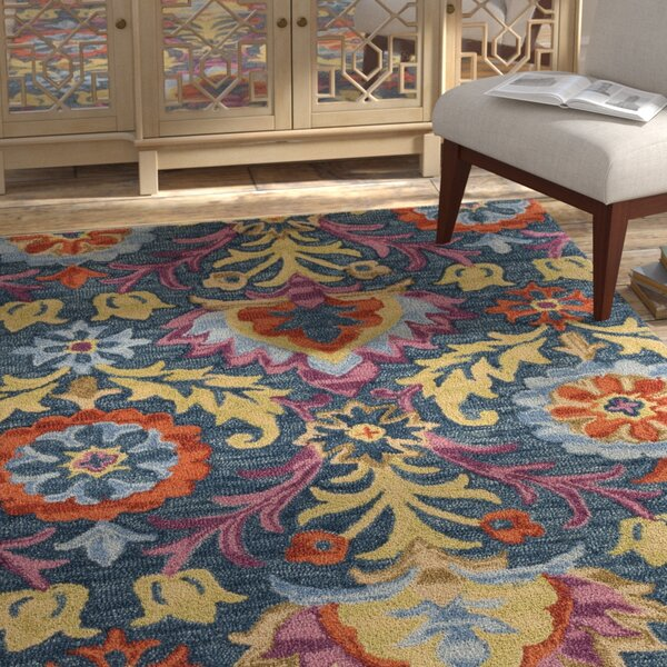 Talmo Bohemian Hand Hooked Wool Blue/Yellow Area Rug by Bungalow Rose