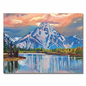 'Majestic Blue Mountain' by David Lloyd Glover Framed Painting Print on Wrapped Canvas by Trademark Fine Art