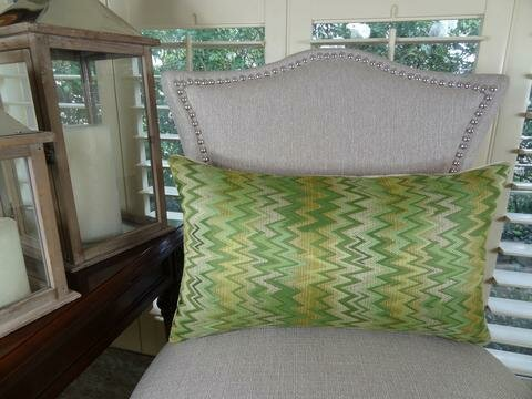 Peek Leaf Double Sided Lumbar Pillow by Plutus Brands