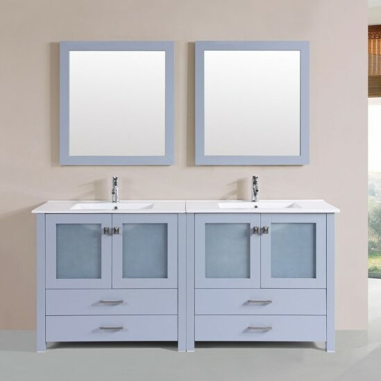 Lapp Modern 71 Double Bathroom Vanity Set with Mirror by Latitude Run