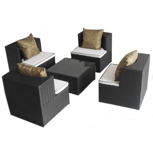Geo-Cube 5 Piece Sunbrella Conversation Set With Cushions By Deeco Comparison
