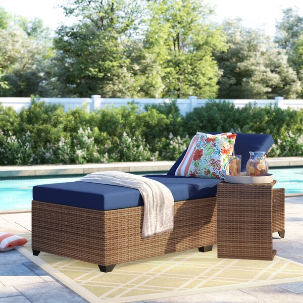 Waterbury Chaise Lounge with Cushion and Table by Sol 72 Outdoor