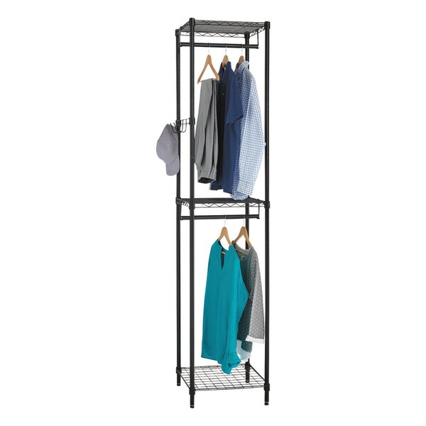 Beveridge Wire Shelving Garment Tower Coat Rack by Rebrilliant