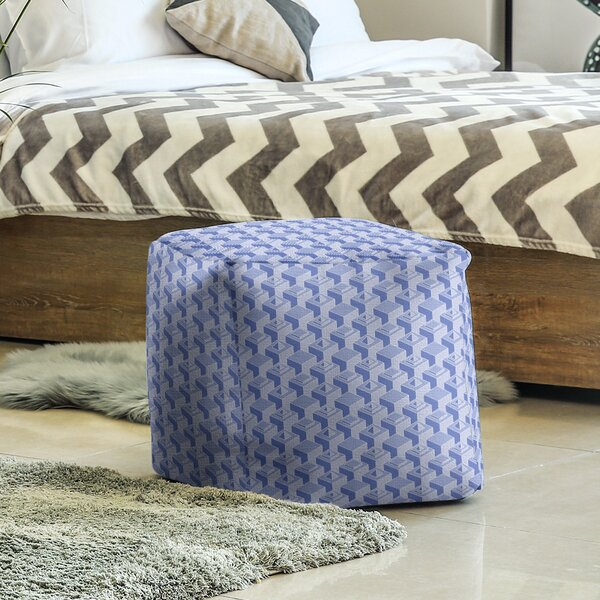 Two Color Skyscrapers Pattern Cube Ottoman by East Urban Home