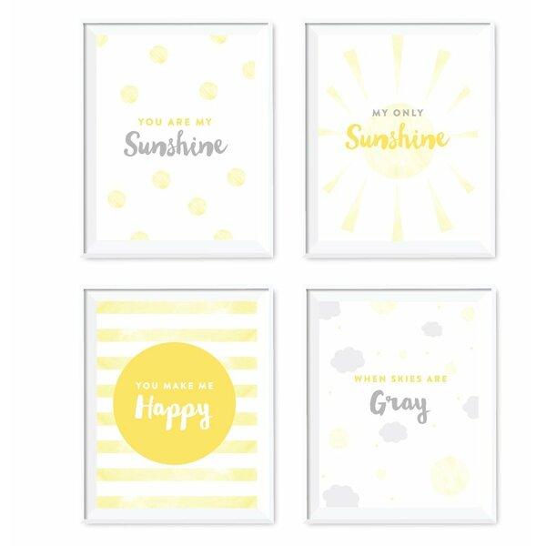 4 Piece You Are My Sunshine Nursery Kids Room Paper Print Set by Koyal Wholesale