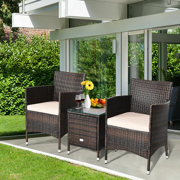 Ailith 3 Piece Rattan Seating Group with Cushions by Ebern Designs