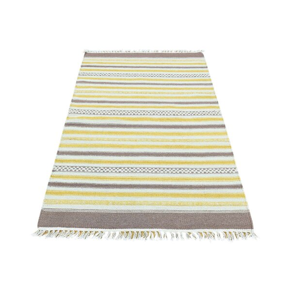 Durie Kilim Flat Weave Striped Hand-Knotted Yellow/Ivory/Coffee Brown Area Rug by Bloomsbury Market