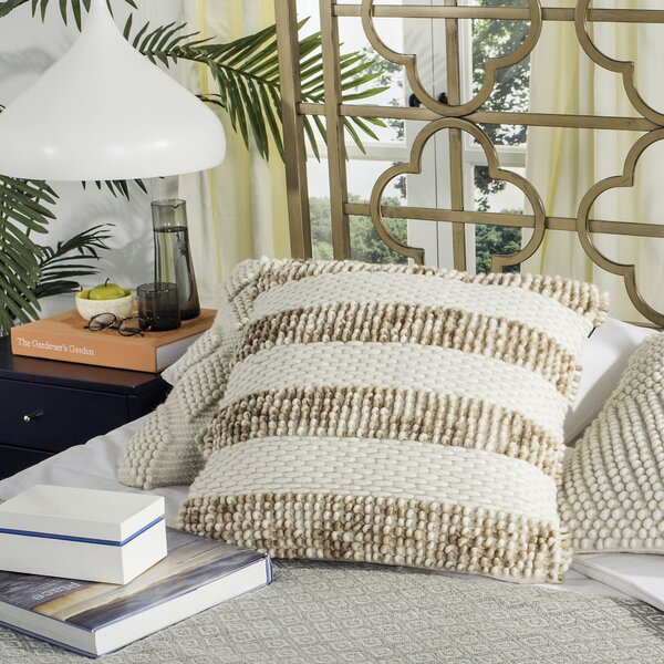 Freeburg Loop and Weaved Striped Throw Pillow by Gracie Oaks