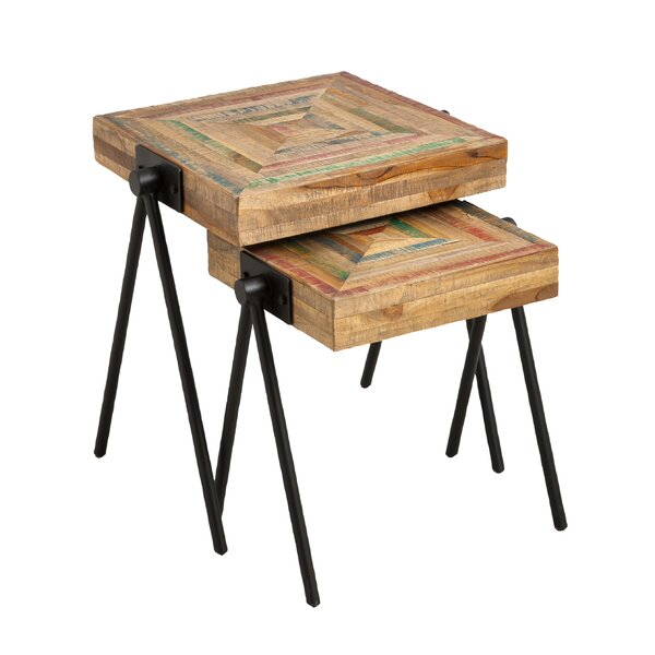 Rutland Recycled Teak 2 Piece Nesting Tables by Bloomsbury Market