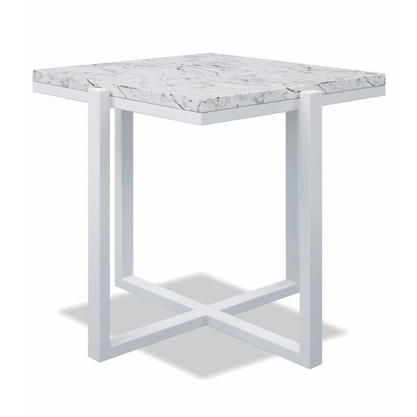 Square End Table With Honed Carrara Marble Frost by Sunset West