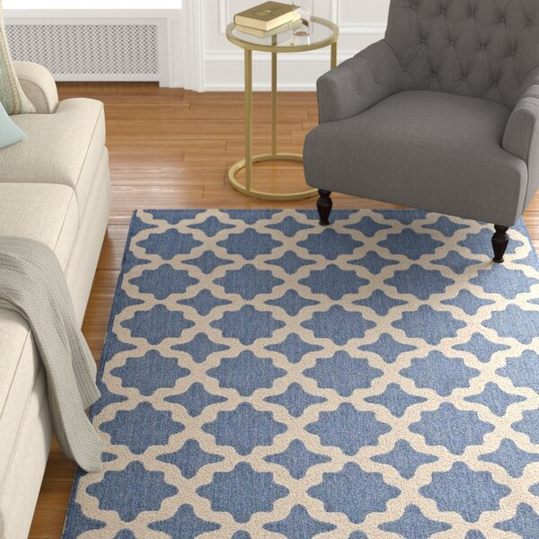 Hervey Bay Moroccan Trellis Blue/Beige Indoor/Outdoor Area Rug by Charlton Home
