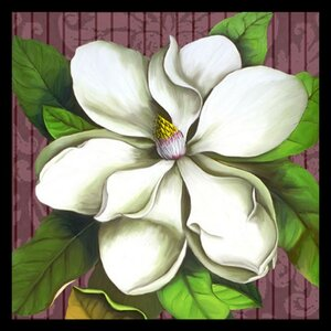 'Square Magnolia Stripe - Colorful Floral White Flower' by Jill Meyer Framed Painting Print by Buy Art For Less
